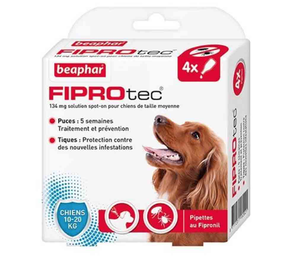 Fiprotec chien 10-20 4 pipettes