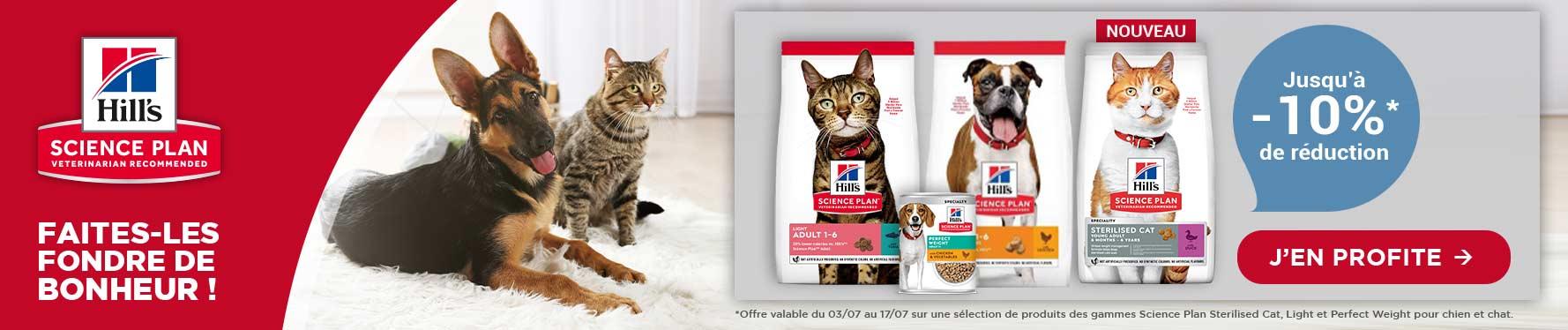 Jusqu'à -10% sur votre alimentation Hill's Science Plan chat et chien
