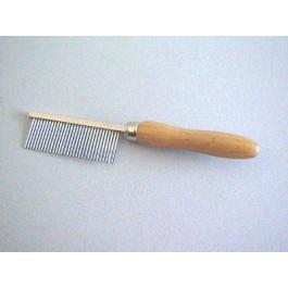 Peigne manche en bois Denture métal fine 17 cm - La Compagnie Des Animaux
