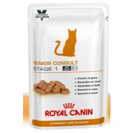 Royal Canin Vet Care Nutrition Cat Senior Consult Stage 1 12x100 grs - La Compagnie Des Animaux