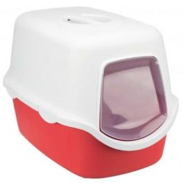 Bac à litière Vico 40 x 40 x 56 cm blanc / rouge - La Compagnie Des Animaux