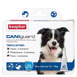 Beaphar Caniguard chien moyen 7.5 - 15 kg 3 pipettes - La Compagnie Des Animaux