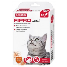 Beaphar Fiprotec chat 6 pipettes - La Compagnie Des Animaux