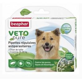 Beaphar VETOpure 3 Pipettes répulsives antiparasitaires chien moyen 15-30 kg - La Compagnie Des Animaux