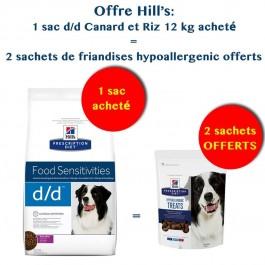 Offre Hill's: 1 sac Prescription Diet Canine D/D Canard et Riz 12 kg acheté = 2 sachets de Friandises Hypoallergenic Offerts - La Compagnie Des Animaux