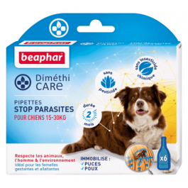 Beaphar Diméthicare Stop Parasites 6 pipettes pour chien 15-30 kg - La Compagnie Des Animaux