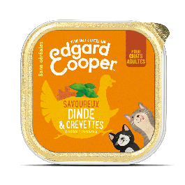 Edgard & Cooper Savoureux Dinde & Crevettes pour chat adulte 19 x 85 g - La Compagnie Des Animaux