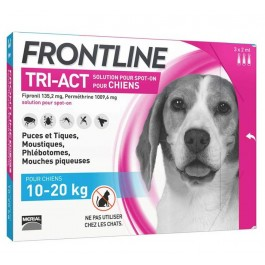 Frontline Tri Act spot on chiens 10 - 20 kg 3 pipettes - La Compagnie Des Animaux