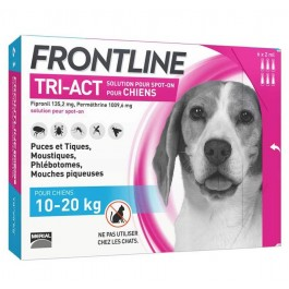 Frontline Tri Act spot on chiens 10 - 20 kg 6 pipettes - La Compagnie Des Animaux