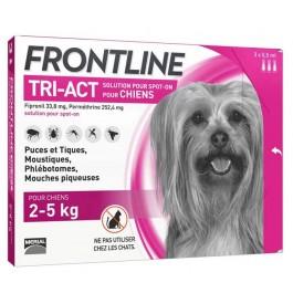 Frontline Tri Act spot on chiens 2 - 5 kg 3 pipettes - La Compagnie Des Animaux