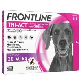 Frontline Tri Act spot on chiens 20 - 40 kg 3 pipettes - La Compagnie Des Animaux
