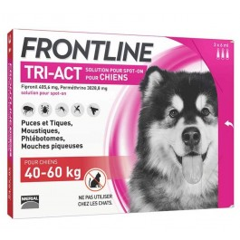 Frontline Tri Act spot on chiens 40 - 60 kg 3 pipettes - La Compagnie Des Animaux