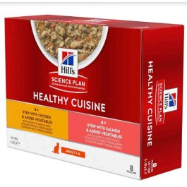 Hill's Science Plan Feline Adult Healthy Cuisine Mijotés Poulet Saumon 8 x 80 g