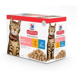 Hill's Science Plan Feline Adult Light Pack Mixte sachets 12 x 85 grs - La Compagnie Des Animaux