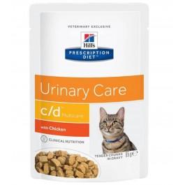 Hill's Prescription Diet Feline C/D Multicare Poulet SACHETS 12 x 85 grs - La Compagnie Des Animaux