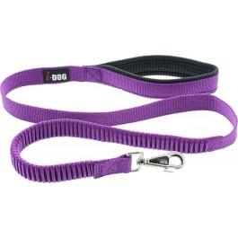 I-DOG Laisse Confort Elastique Violet/Gris 120 cm - La Compagnie Des Animaux