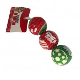 KONG SqueakAir Balles de tennis Noël pour chien x3
