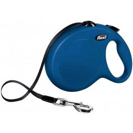 Laisse à enrouleur New Classic Flexi Sangle L Bleu 8 m  - La Compagnie Des Animaux