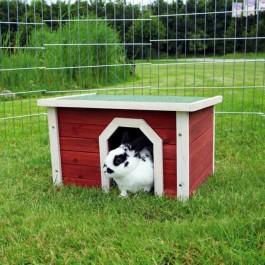 Natura habitat pour petits animaux 50 × 30 × 37 cm bois rouge / blanc - La Compagnie Des Animaux