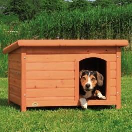 Natura Niche à toit plat brun pour chiens 85 x 58 x 60 cm - La Compagnie Des Animaux