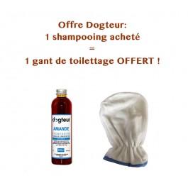 Offre Dogteur: 1 Shampooing PRO Dogteur Amandes 250 ml acheté = 1 gant de toilettage offert - La Compagnie Des Animaux