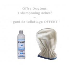 Offre Dogteur: 1 Shampooing PRO Dogteur Lait 250 ml acheté = 1 gant de toilettage offert - La Compagnie Des Animaux