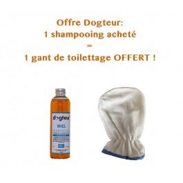 Offre Dogteur: 1 Shampooing PRO Dogteur Miel 250 ml acheté = 1 gant de toilettage offert - La Compagnie Des Animaux