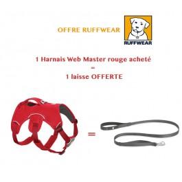 Offre: 1 Harnais Ruffwear Web Master Rouge M acheté = 1 laisse OFFERTE - La Compagnie Des Animaux