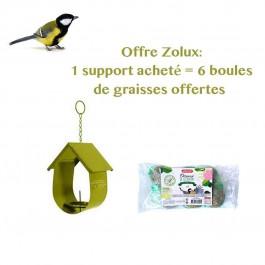 Offre Zolux : 1 Support pour boule de graisse Cabane vert acheté = 6 boules de graisses offertes