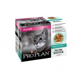 Purina Proplan Cat Nutrisavour Delicate Poisson 10 pochons 85 grs - La Compagnie Des Animaux