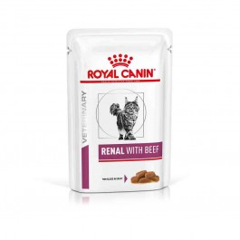 Royal Canin Veterinary Diet Cat Renal Boeuf Sachet 12 x 85 grs - La Compagnie Des Animaux