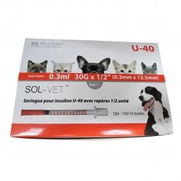 Seringue UU insuline G30 40 UI 1ml aiguille sertie 3/10 x 12.7 mm (boite de 30) - La Compagnie Des Animaux