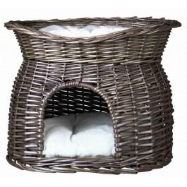 Trixie Panier osier gris avec lit au dessus pour chat - La Compagnie Des Animaux