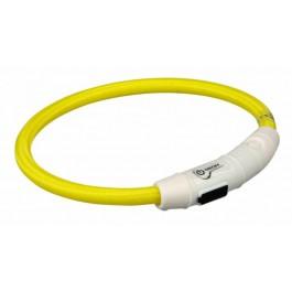 Trixie Collier Lumineux Safer Life USB Flash jaune pour chien M-L - La Compagnie Des Animaux