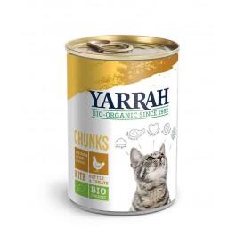 Yarrah Bio Bouchées de poulet aux orties et à la tomate pour chat 12 x 405 grs - La Compagnie Des Animaux