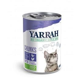 Yarrah Bio Bouchées de poulet et dinde en sauce aux orties et à la tomate pour chat 12 x 405 grs - La Compagnie Des Animaux