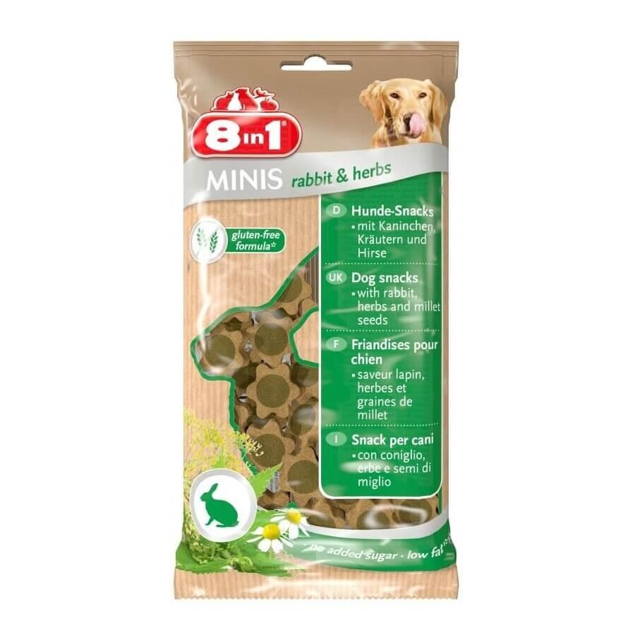 8in1 Mini Friandises Lapin et Herbes pour chien 100 g - La compagnie des animaux