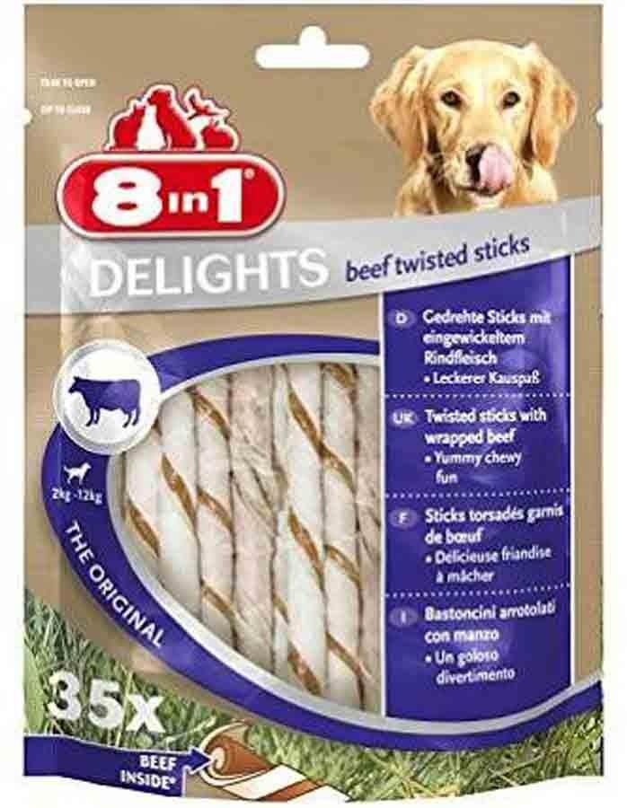 8in1 Twisted Sticks Beef XS pour chien x35- La Compagnie des Animaux