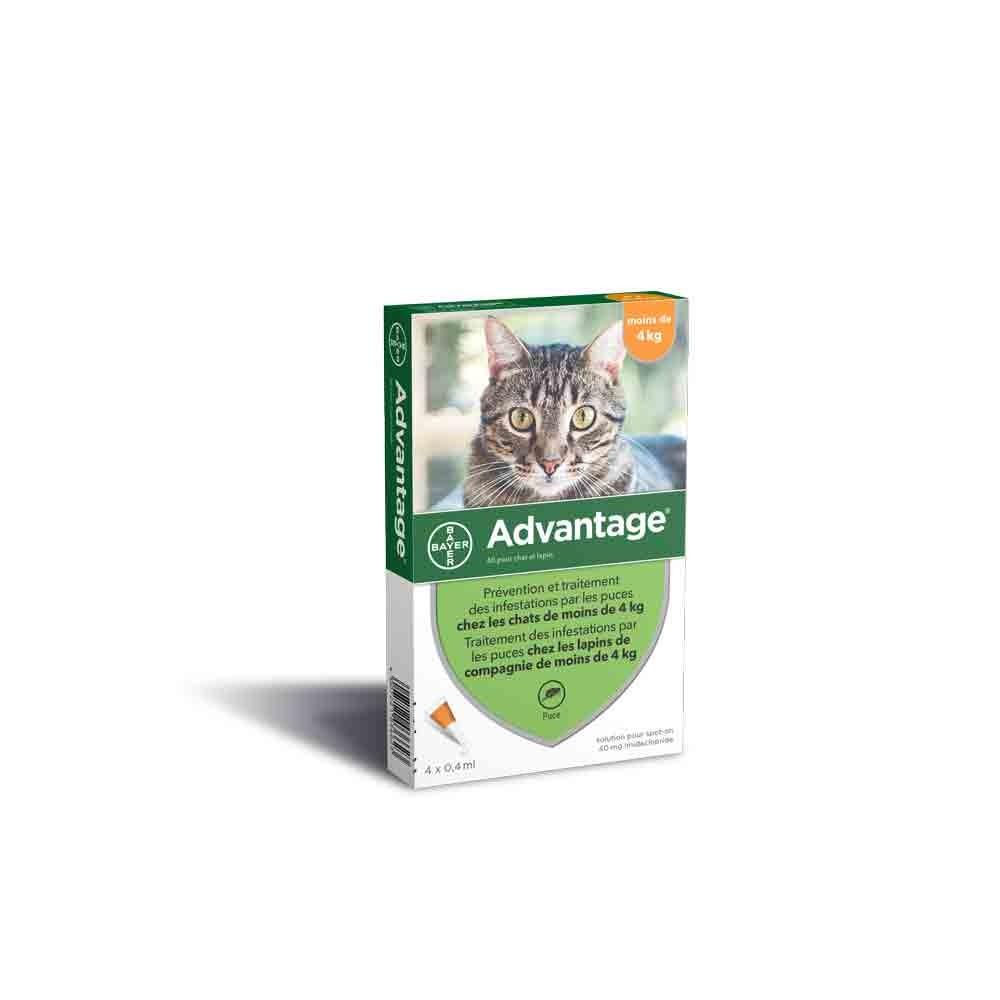 Advantage 40 chat et lapin de 1 à 4 kg - 4 pipettes- La Compagnie des Animaux