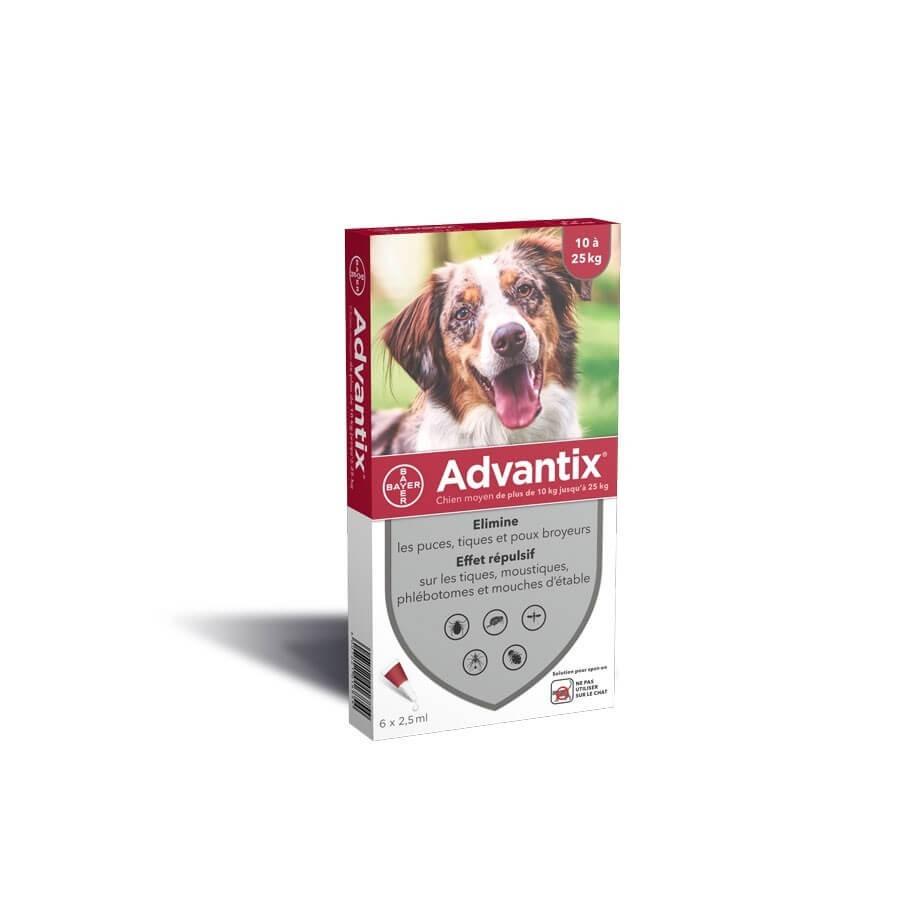Advantix chien moyen (10-25 kg) - 6 pipettes- 6 pipettes- La Compagnie des Animaux