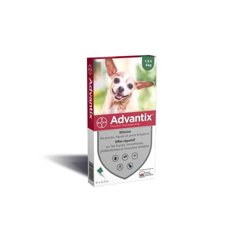 Advantix très petit chien (1,5-4 kg) - 6 pipettes- La Compagnie des Animaux