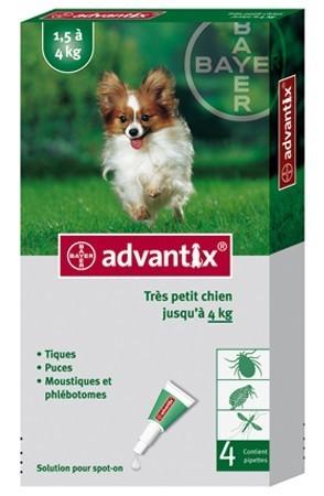 Advantix très petit chien (1,5-4 kg) - 4 pipettes