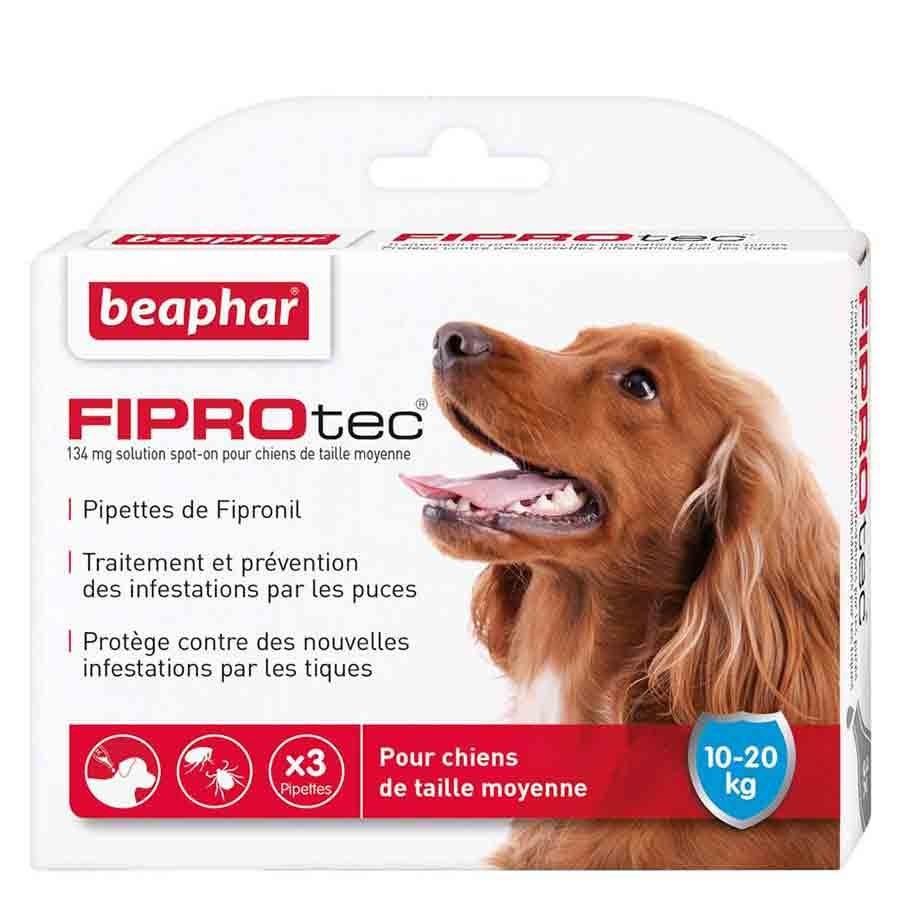 Beaphar Fiprotec chien moyen 10 - 20 kg 3 pipettes- La Compagnie des Animaux