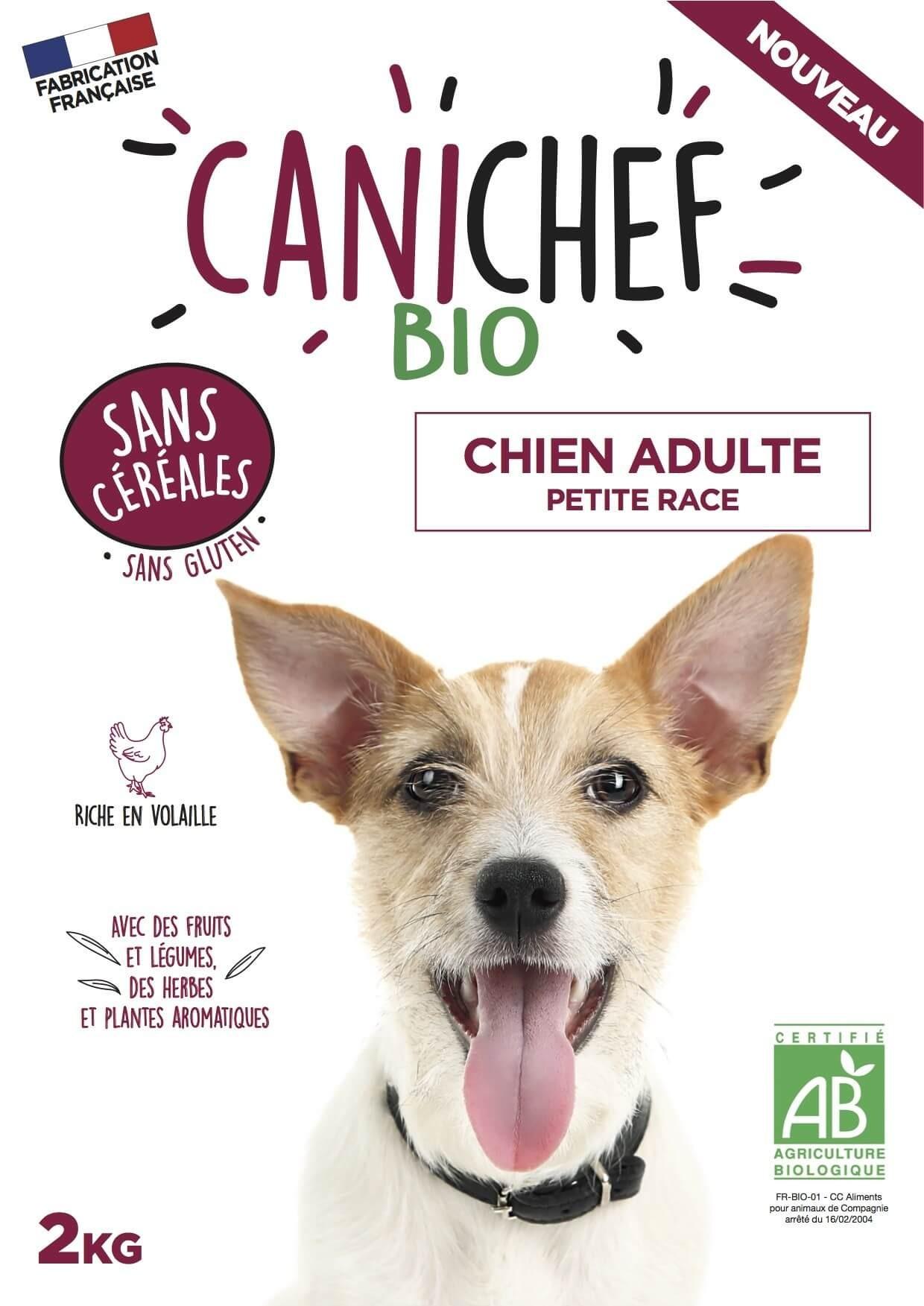 Canichef croquettes BIO sans céréales, sans gluten chien petite race 2kg - La Compagnie des Animaux