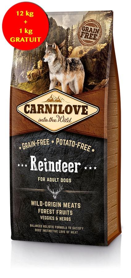 Carnilove Renne chien 12 kg + 1 kg GRATUIT- La Compagnie des Animaux