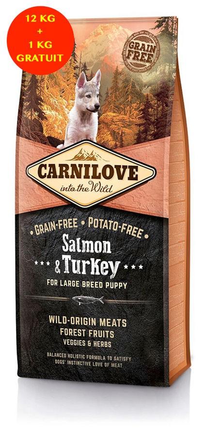 Carnilove Saumon et Dinde Puppy Large 12 kg + 1 kg GRATUIT - La Compagnie des Animaux