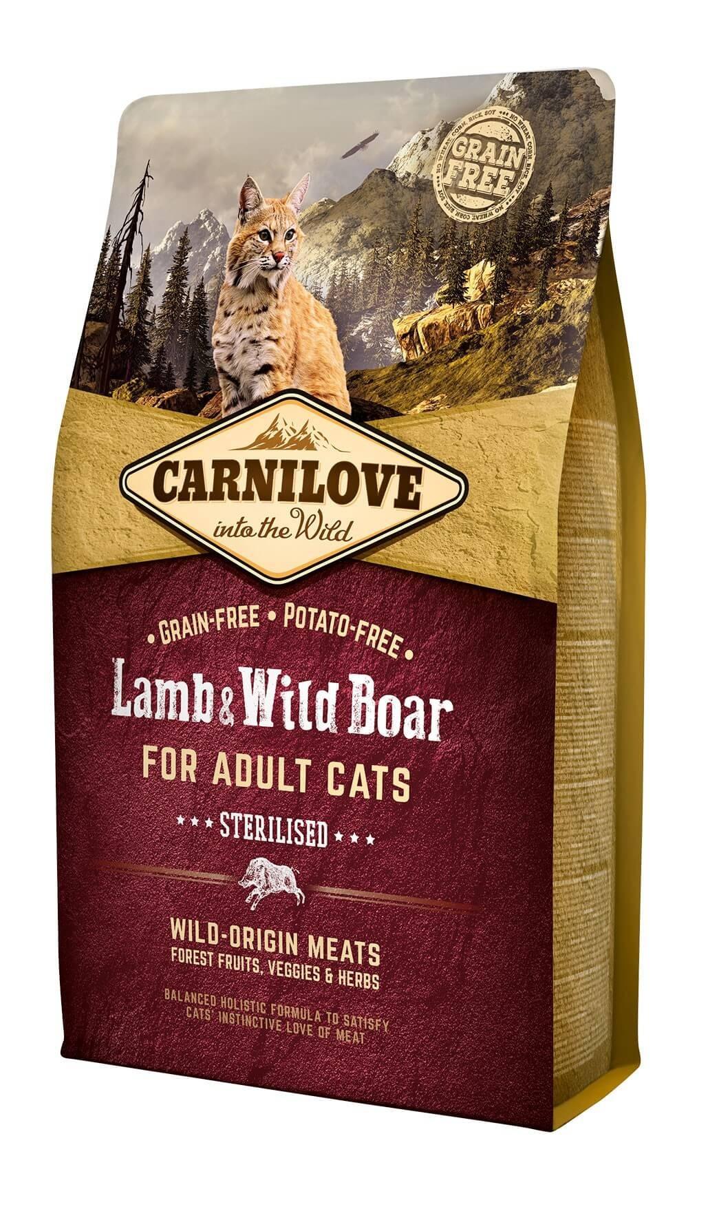 Carnilove Agneau et Sanglier chat 2 kg - La Compagnie des Animaux
