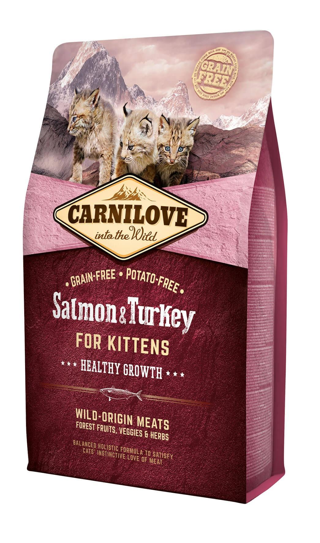 Carnilove Saumon et Dinde Kitten 2kg - La Compagnie des Animaux