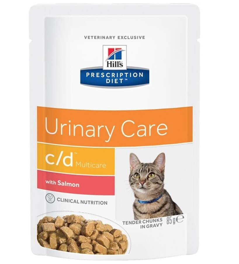 Hill's Prescription Diet Feline C/D Multicare Saumon SACHETS 12 x 85 grs- La Compagnie des Animaux