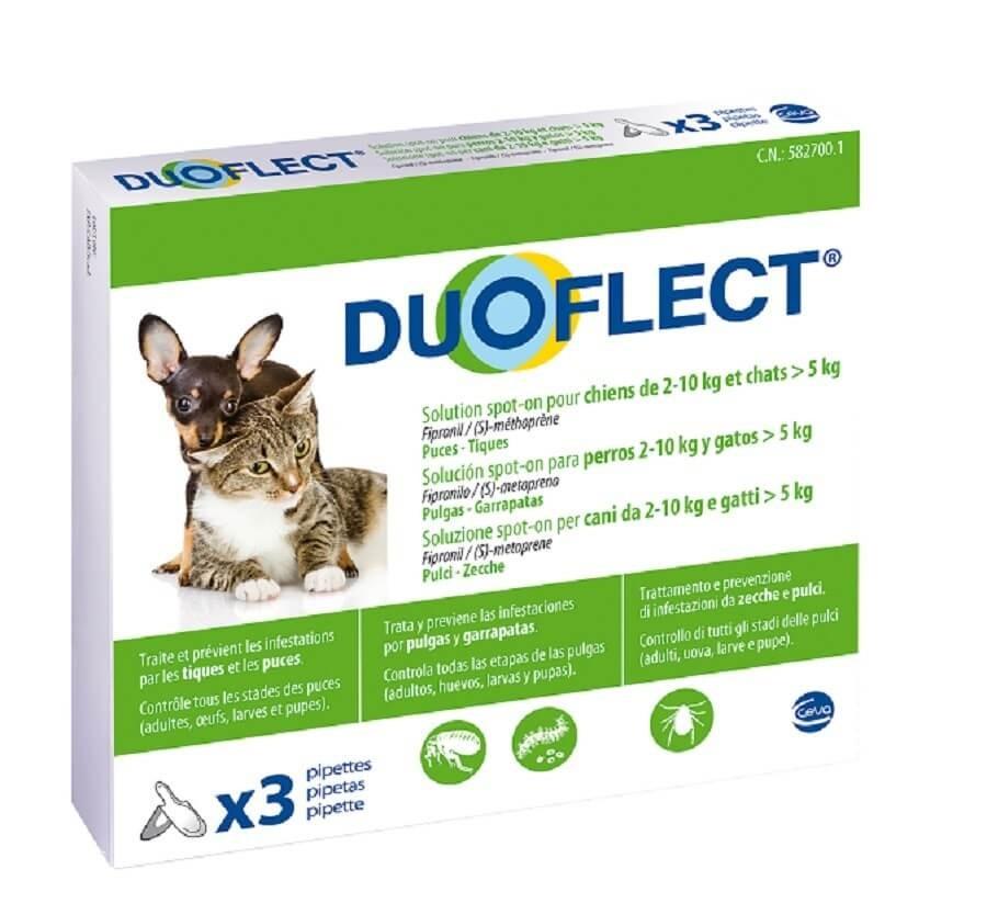 Duoflect Chien 2-10 kg et chat > 5kg 3 pipettes - 6 mois